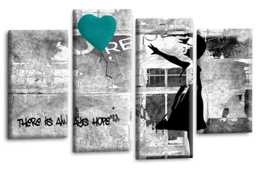 Banksy Wall Art Canvas Teal Balloon Girl Picture Love Peace Multi Panel